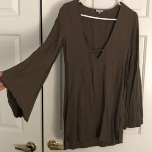 Olive Green Flare Sleeve Deep V-Cut Dress!!